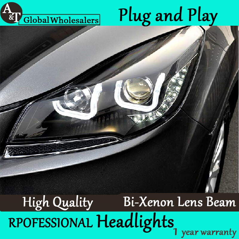A&T Car Styling for Ford Kuga Escape Headlights Double U Angel Eye DRL Lens Double Beam H7 HID Xenon bi xenon lens  car styling led head lamp for ford kuga led headlights 2014 taiwan escape angel eye drl h7 hid bi xenon lens low beam