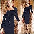 Senhoras Elegantes Ternos De Negócio Blazer com Saias Projetos Uniformes Escritório Formal de Trabalho Terno Feminino Carreira Lápis Vestido