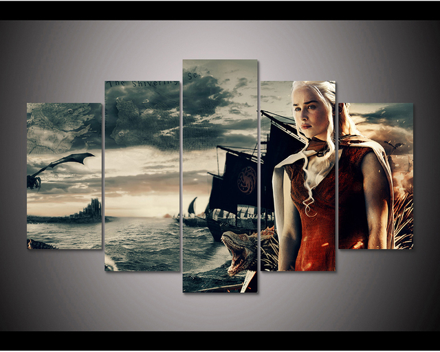 Framed HD Print 5pcs Game of Thrones daenerys targaryen