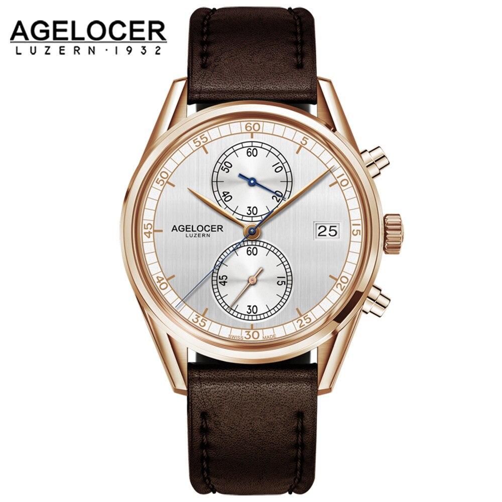 759788d74962 Agelocer hombres famosa marca cronógrafo portugués reloj electrónico hombres  analógico con banda de acero inoxidable Erkek Kol saati