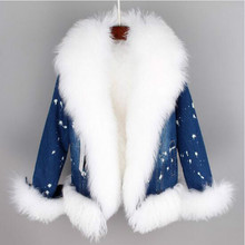 2018 new winter casual warm fashion short fur jacket Natural wool lined with luxurious collar denim coat