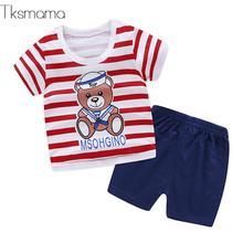 Marca deportes ropa de bebé niño trajes Unisex recién nacido Ropa chándales  Tops de manga corta + Pantalones c3ccec389798