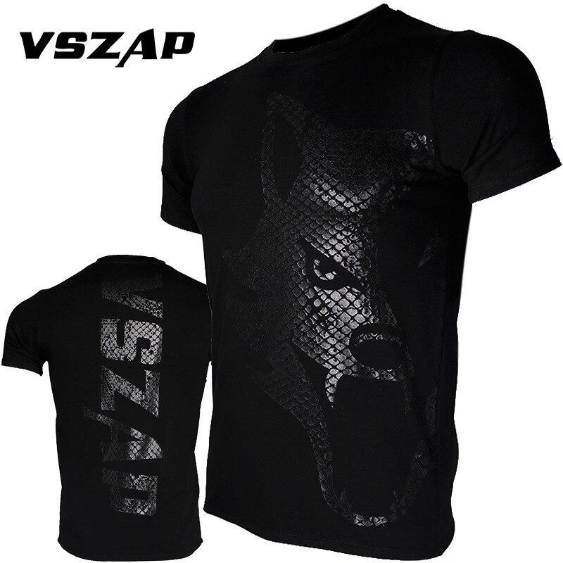 VSZAP MMA Clothing Shirts Rashguard Fitness Base Layer Skin Tight Weight Lifting Men T Shirts Muay Thai Shorts Boxe Clothing