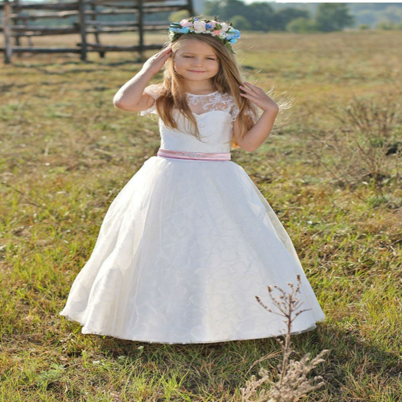Flower Girl Dress Birthday A-Line Mother Daughter Dresses Holiday Children Clothing Long Pageant Dresses For Girls Glitz
