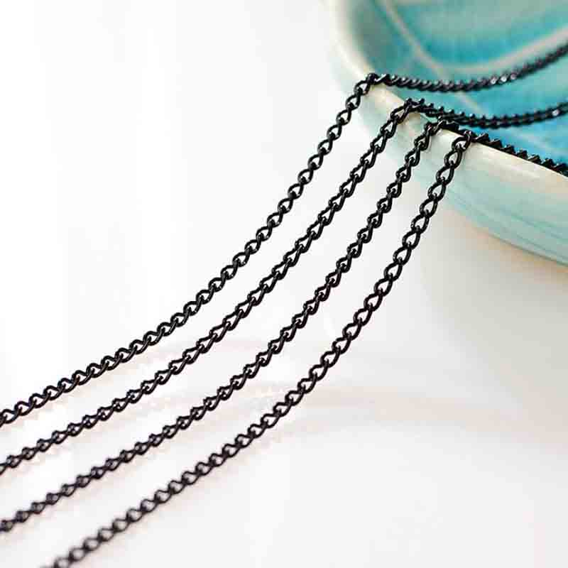5 Meters/lot Black Color Necklace Bulk Chain 1.5mm Iron Rolo Link Chain for DIY Bracelets Jewelry Making Accessories Supplier 5 meters 2 3mm 3 4mm metal necklace chains bulk fit bracelets necklace chain silver color link chain for diy jewelry making z821