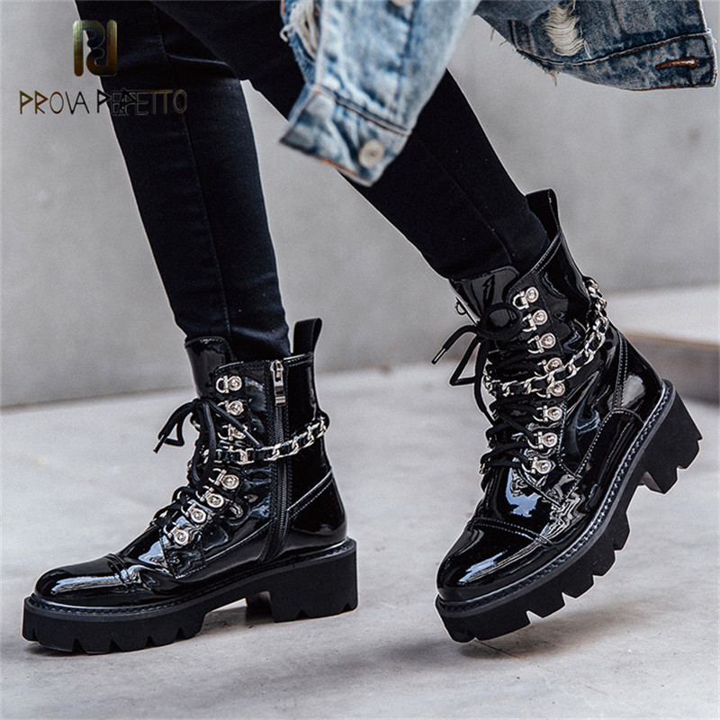 Prova Perfetto Punk Style Black Patent Leather Motorcycle Boots Women Ankle Boots Round Toe Autumn Winter High Heels Shoes Woman 2017 winter fashion black patent leather woman boots round toe crystal ankle boots high quality thick heels riding boots