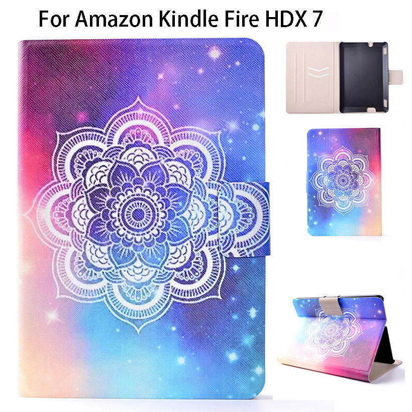Ultra Slim Print Flower PU Leather Case For Amazon Kindle Fire HDX 7 HDX7 Smart Case Cover Sleep Wake Flip Tablet Shell Funda fashion pu leather ultra slim smart cover case for amazon kindle paperwhite 1 2 3 6case tablet shell with sleep