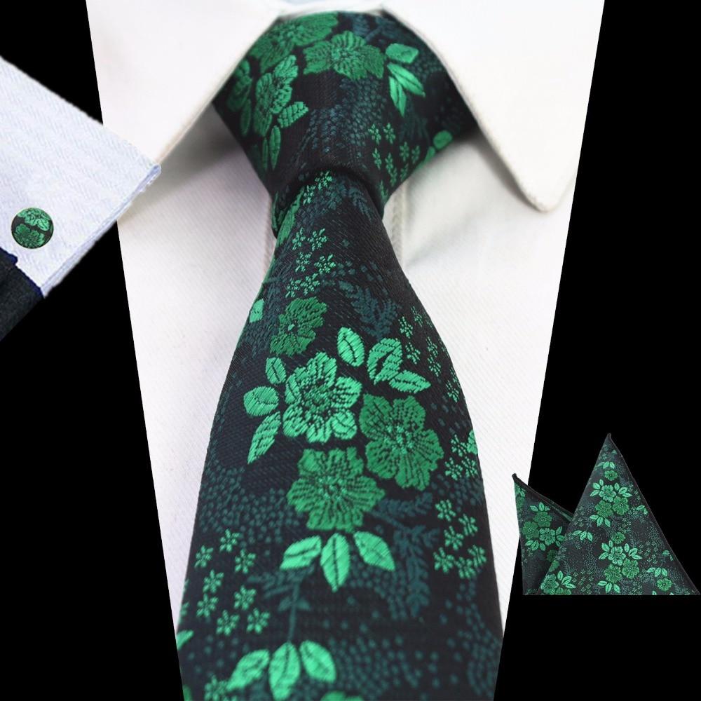 GUSLESON 2017 Mans Floral Tie 100% Silk Jacquard Necktie Gravata Handkerchief Cufflinks Wedding Tie Set For Men Formal Party