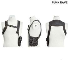 Steampunk Fashion Harness Faux Leather Men T-shirt Vest Gothic Victorian Single Brown Single Poket Bag T Shirt Punk Rave S-171