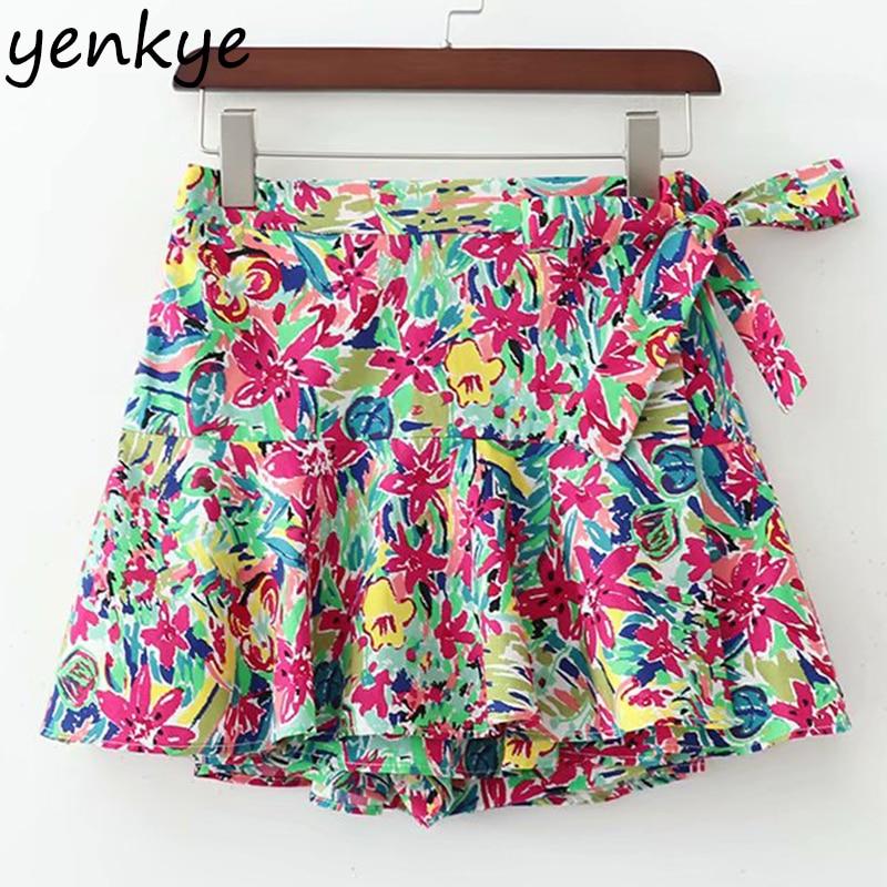 Multicolor Floral Print Boho   Shorts   Women Elastic High Waist Summer   Short   Culottes XDWM2251
