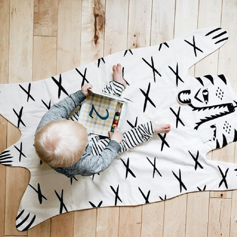 Cute Animals Tiger Pattern Baby Quilted Play Mats Crawling Blanket Racing Carpet Rug Nordic Kids Bed Room Decor Photo Prop