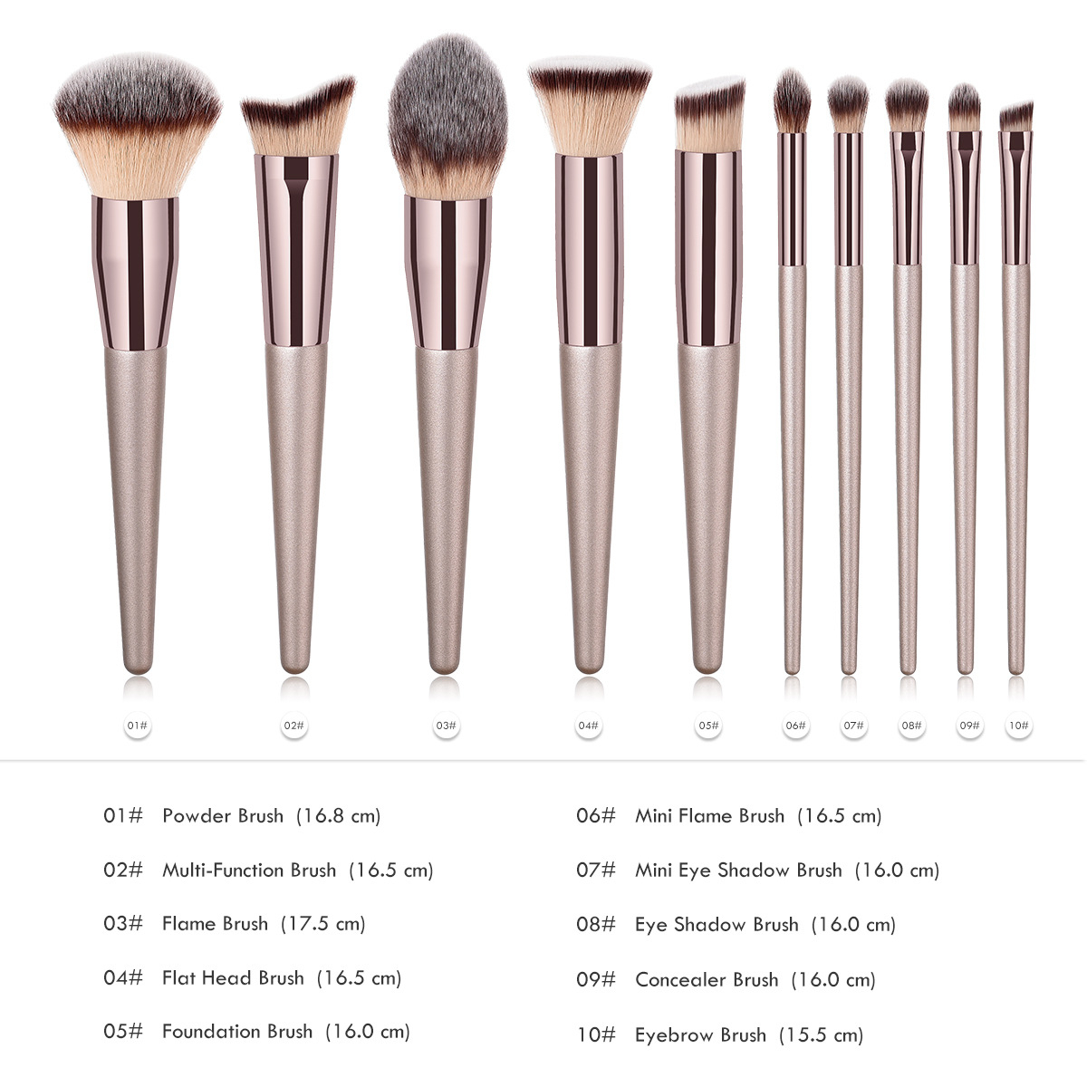 Image 2 - Luxury Champagne Makeup Brushes Set For Foundation Powder Blush Eyeshadow Concealer Lip Eye Cosmetics Beauty Tools Make Up Brush-in Eye Shadow Applicator from Beauty & Health