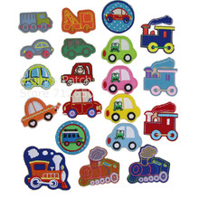 New arrival 10 pcs little car trains mini truck embroidered patch iron on Motif Applique Fabric cloth embroidery accessory