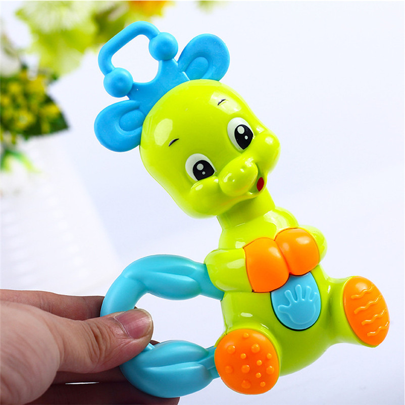 Cute Colorful Deer Baby Toys Plastic Hand Baby Rattle Mobiles Jingle Shake Bell Baby Musical Toys Educational Toys P5