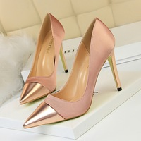 women high heels pumps 10cm classic pumps satin splice pointed sexy nightclub thin heels gold shoes ladies shoes beast sellers