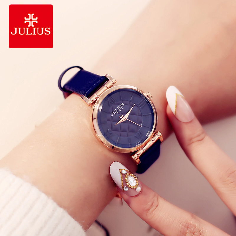 цена на Julius Brand Women Watches Fashion Leather Strap Round Dial ladies Watch Roman Numeral Female Quartz Wrist watch Reloj Mujer