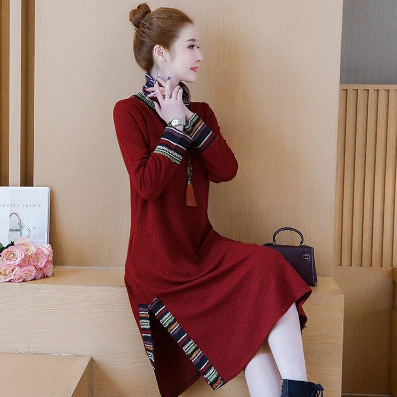 New Women 39 s Winter Dress 2018 Fashion Elegant Embroidery Print Striped Patchwork Turtleneck Thicken Plus Velvet Dresses Female in Dresses from Women 39 s Clothing