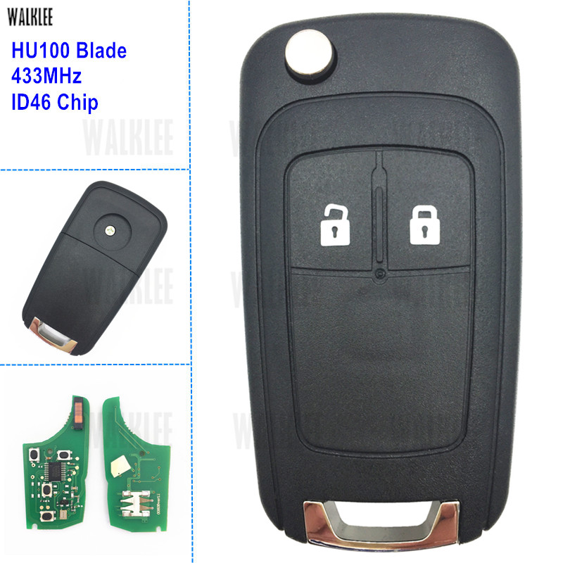 WALKLEE Car Remote Key suit for Opel/Vauxhall Astra J / Corsa E / Insignia / Zafira C, 433MHz with ID46 Chip HU100 BladeWALKLEE Car Remote Key suit for Opel/Vauxhall Astra J / Corsa E / Insignia / Zafira C, 433MHz with ID46 Chip HU100 Blade
