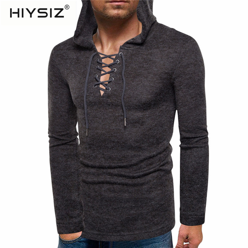 HIYSIZ New Sweaters Fashion Trend Casual European Size Men Personality Pullover Wear Thick Rope Sweater S To XXL 6 Colors ST426