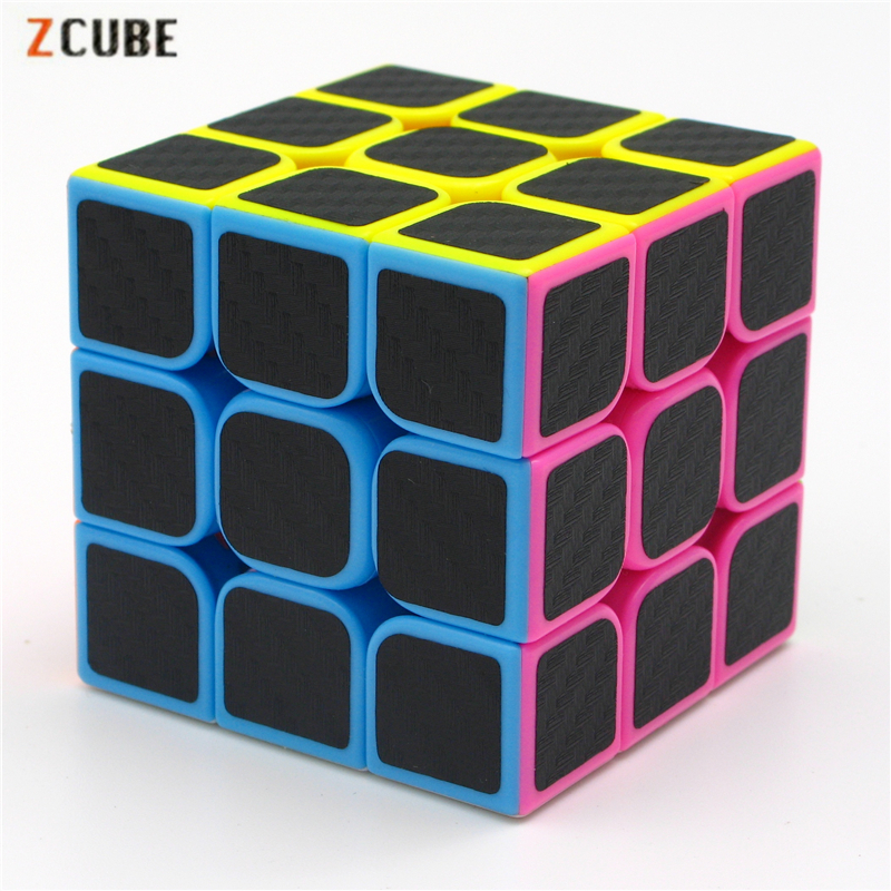 3x3x3 Zcube Carbon Fiber Sticker Magic Cube Puzzle Cubes Speed Cubo Square Puzzle Gifts Educational Toys For Children Pink ZCT11