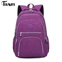 M090 School Backpack For Teenage Girls Mochila Feminine Backpacks Women Solid Famous Nylon Casual Laptop Bagpack