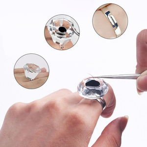 Image 5 - Non disposable Crystal Tattoo Pigment Holder Eyelash Extend Ring Cup Tattoo Ink Container Eyebrow Makeup Microblading Accessory