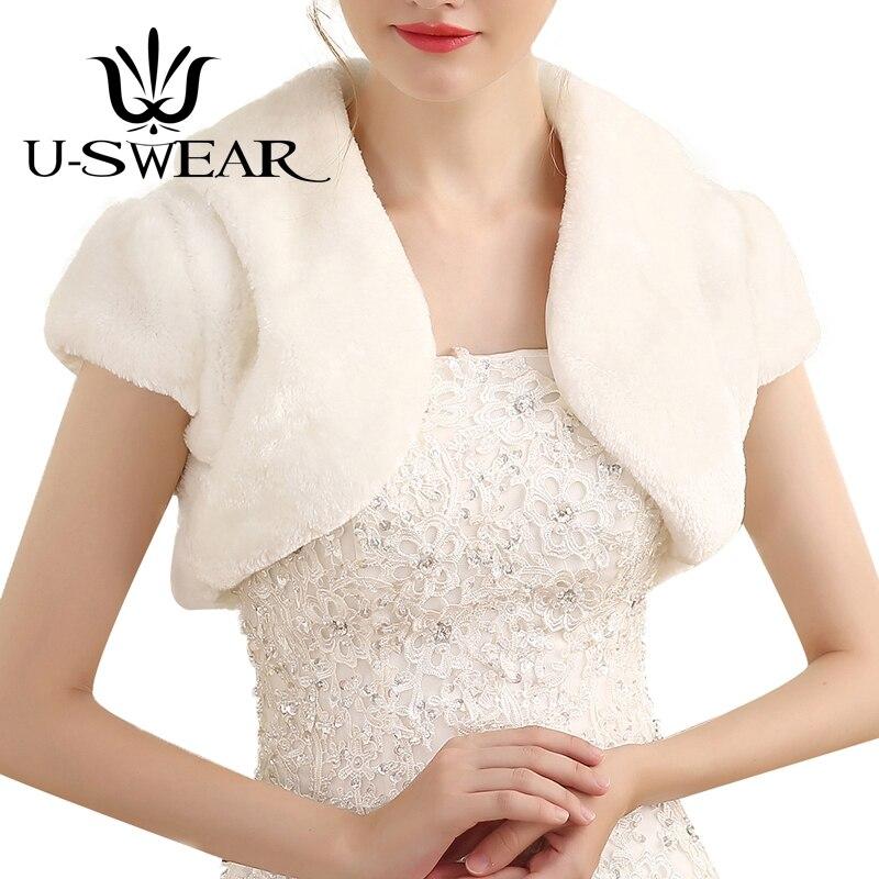 Winter Hot Sale Women Wedding Jackets White Ivory One Size Short Sleeve Bolero Jacket Wedding Cape For Women
