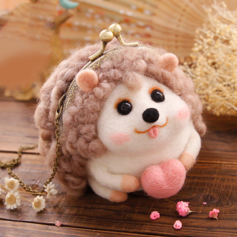 DIY Needle Felting Materail Package (with tools) for Christmas Hedgehog Decoration Hand Spinning Fun Doll Needlework Raw Crafts