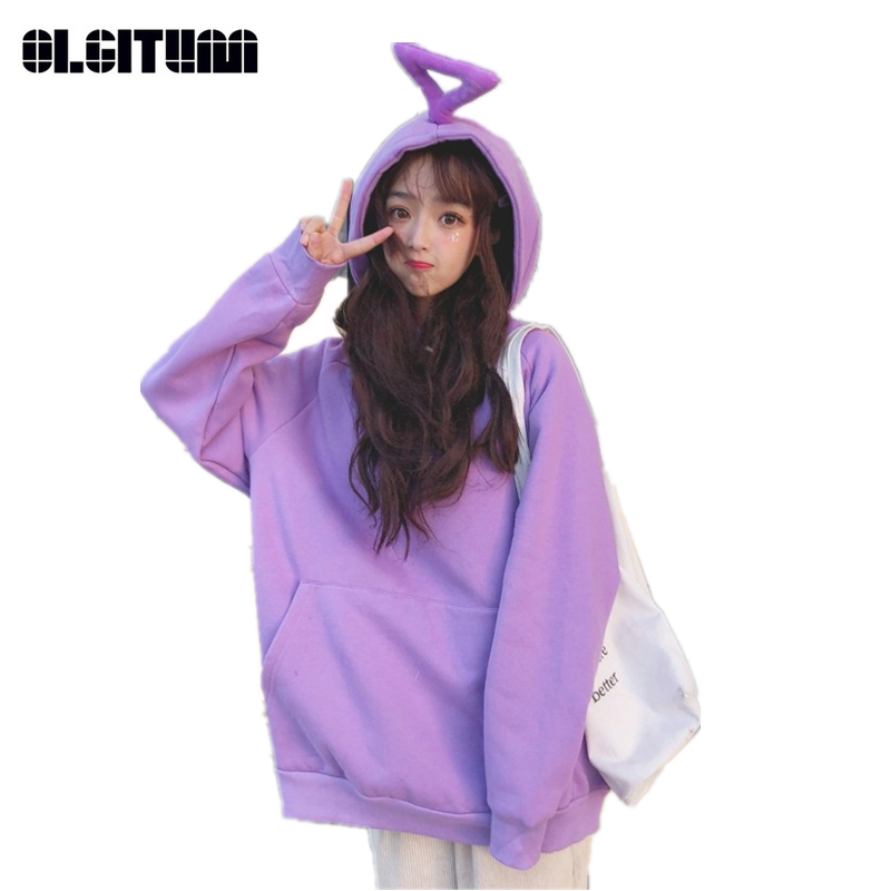 OLGITUM New 2018 Teletubbies Solid Color Loose Plus Velvet Thickening Women Sweatshirt Harajuku BF Women Coat SS277
