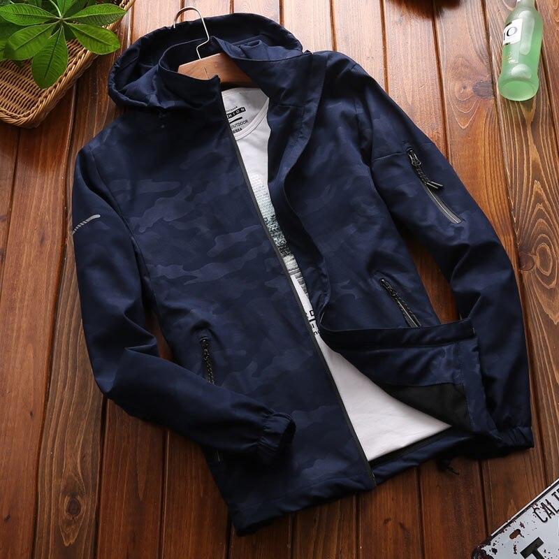 Haute Qualité Nouveau De bleu gris Éclair 18a33 Automne Capuche Veste Manteau Vestes Marque Camouflage Slim À Vêtements Lumière Fit Noir Respirant Hommes Fermeture 8dfzZnwq