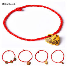1PC Hot Women Girls Chinese Knot Heart Leaf Rope Chain Lucky Charm Decent Red Rope Bracelets Animal Pandant Jewelry Gift(China)