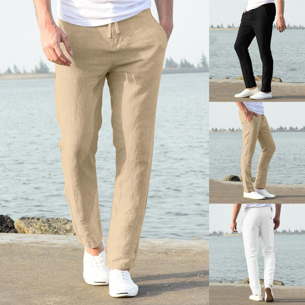 Fashion Men Casual Work Cotton Blend Pure Elastic Waist Long Pants Trousers Casual Male Solid Loose cargo pants Jogger