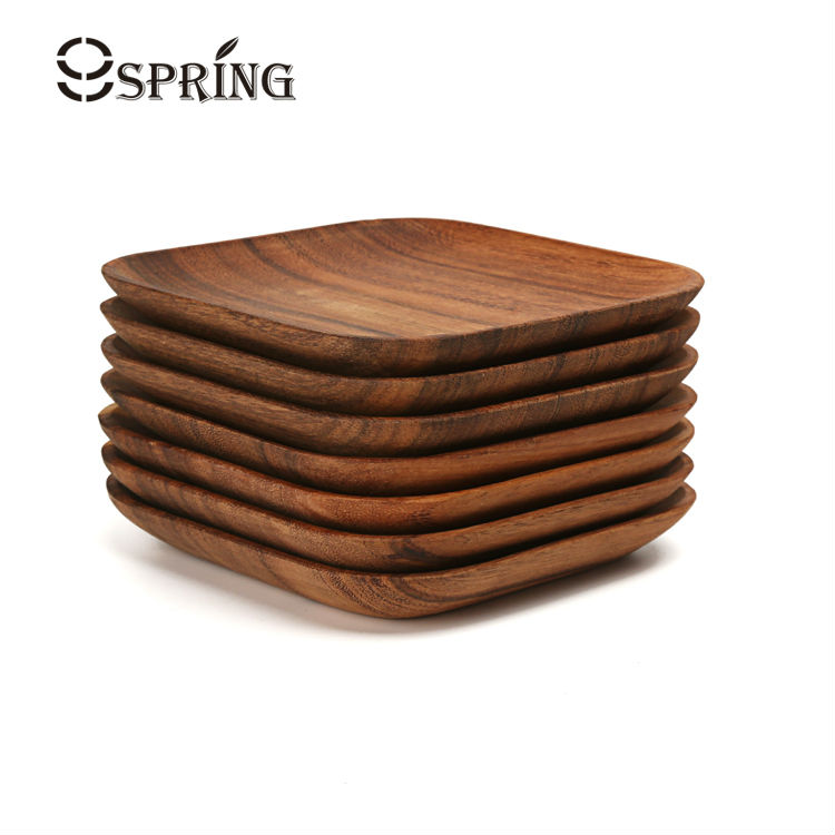 Set of 2 square wooden plates premium acacia wood square for Cuisine wooden