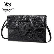 Alligator Muster Vintage PU Leder Tageskupplungen Frauen Handtaschen Damen Umschlag Taschen Abend Party Mini Schwarz Umhängetasche