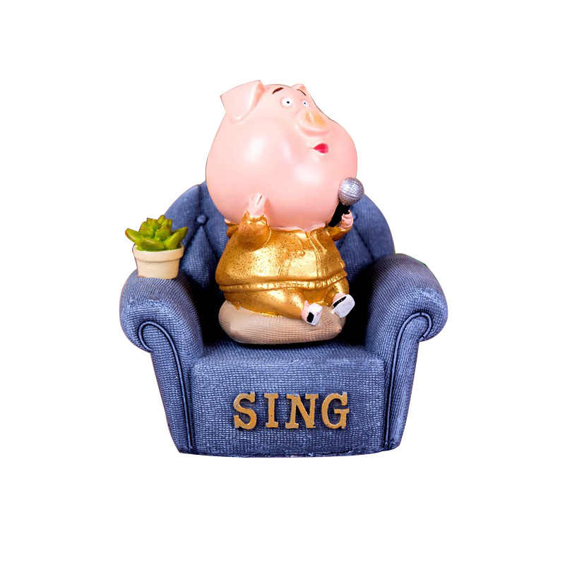 Статуэтка Животного из смолы, милая Музыкальная шкатулка с изображением поросенка, украшение статуи ручной работы, украшение для дома, детская игрушка, подарок на день рождения