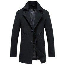 2016 зимние новых людей прибытия высокого качества шерстяные куртки пальто Мужчины однобортный долго ветровка мужская шерстяные пальто