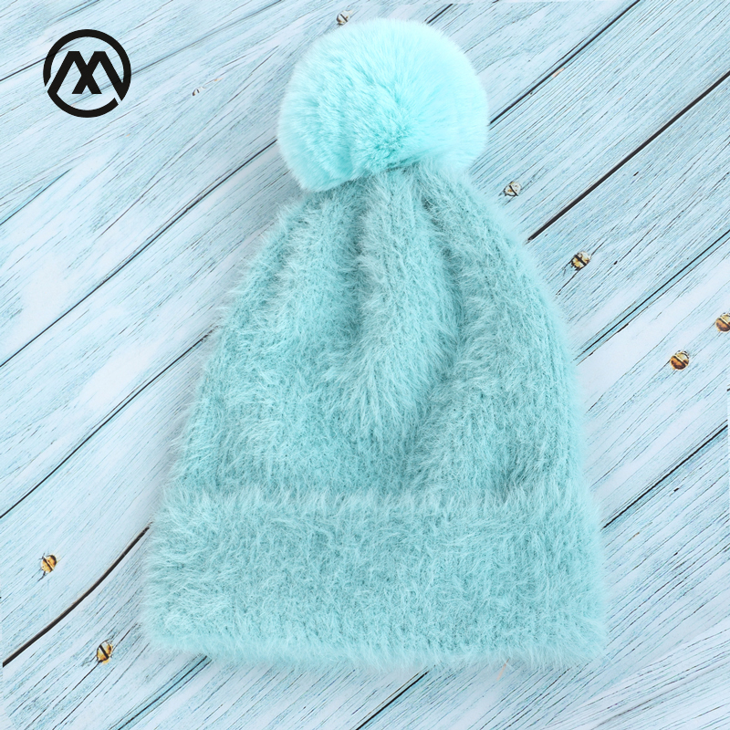 Autumn And Winter Women's New Knitted Cotton Hats Warm And Comfortable Solid Pompoms Fashion Ski Caps Unisex Rabbit Fur Gorras