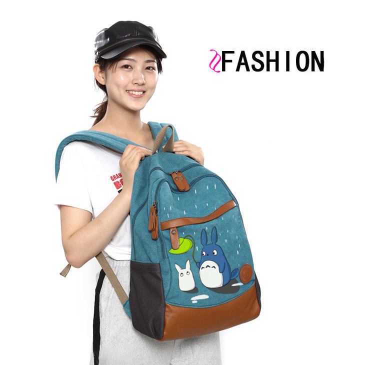 Anime Tonari no Totoro Cosplay Hand-painted male and female Korean tide student bag diy personalized backpack