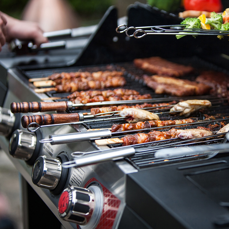 WOOD U SHAPE BBQ SKEWERS SET  (8)
