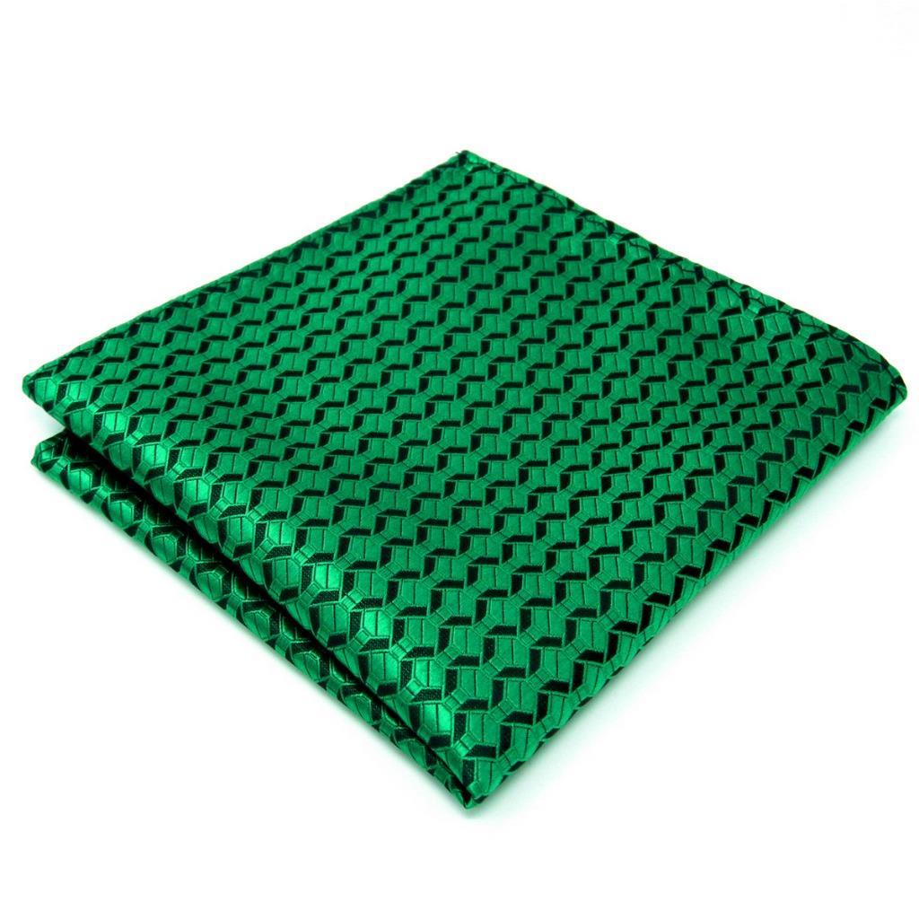 "AH19 Men's Pocket Square Green Black Geometric Silk Wedding Fashion Handkerchiefs 12.6"""