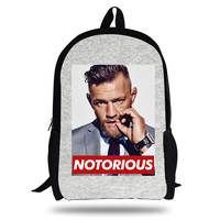 16 Inch UFC MMA THE Notorious Conor Mcgrego Printing Bag Backpack For Children School Backpacks For Boys Girls Kids Bookbag