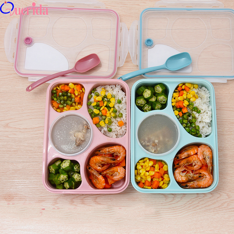 Korean Lunch Box Microwave Tableware Bento Food Container Health Natural 5 Grid Student Portable Food Storage Plastic Food Box