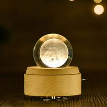 Crystal Ball Wooden Luminous Music Box Music Box Rotary Innovative Birthday Gift Hand Crank Music Box Mechanism Gift #