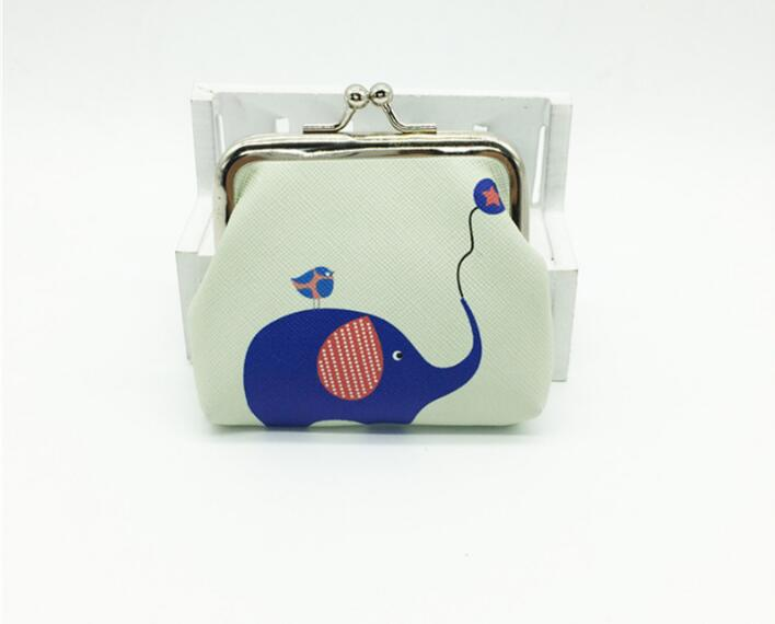 50PCS Women Lady Retro Vintage Coin Purse Elephant Animal Printed PU Leather Small Wallet Hasp Purses Clutch Ladies Bag Hot Sale