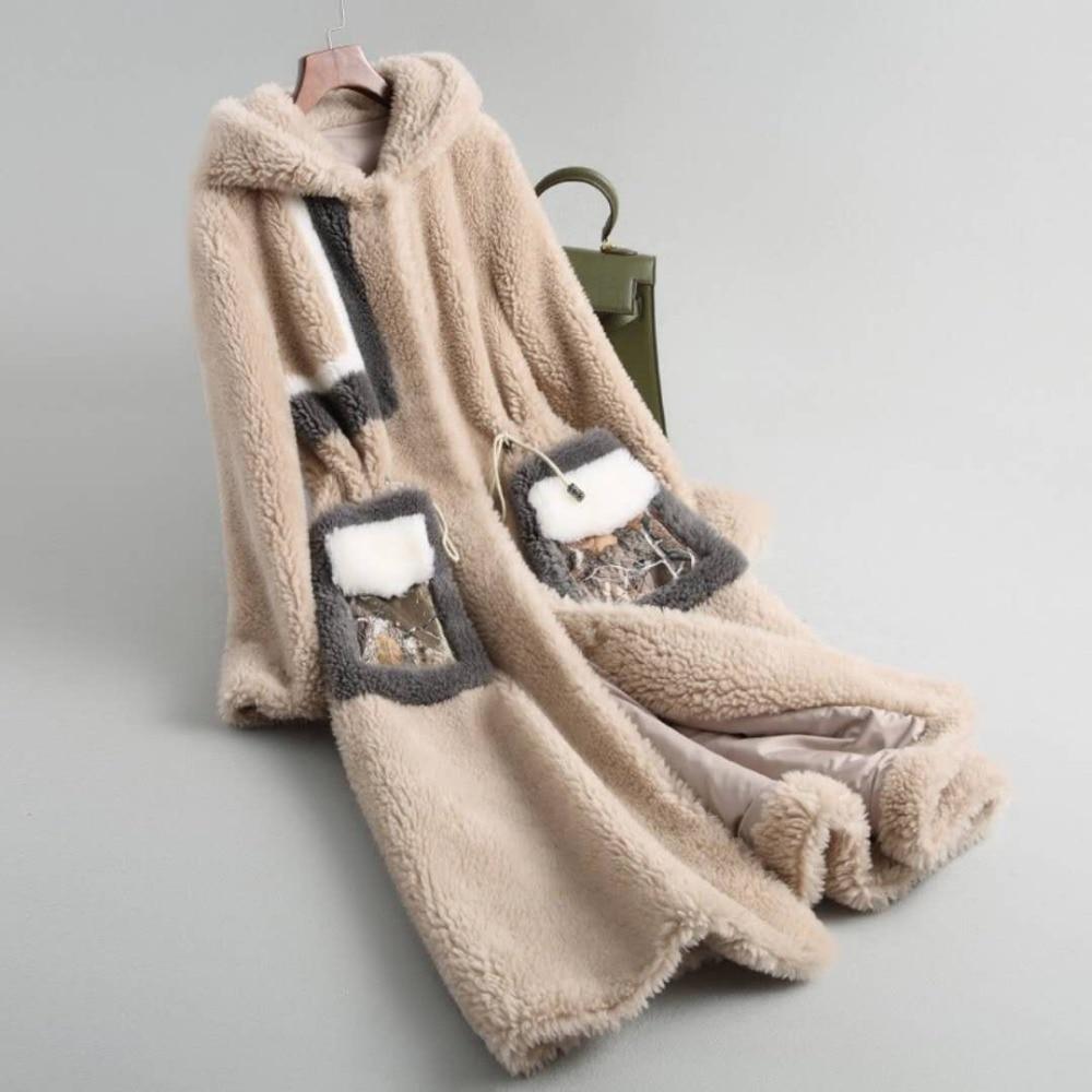 Manteau Femelle De 2019 À D'agneau Femme Manteaux Fourrure As Laine Chaud Réel D'hiver Luxe Veste Capuche Agneau Naturelle Show Femmes Long P4xq5EBnAw