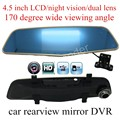 "new arrival with a rear camera Dual Lens 4.5"" inch Car Rearview Mirror DVR Video Recorder with Full HD Original Night Vision"
