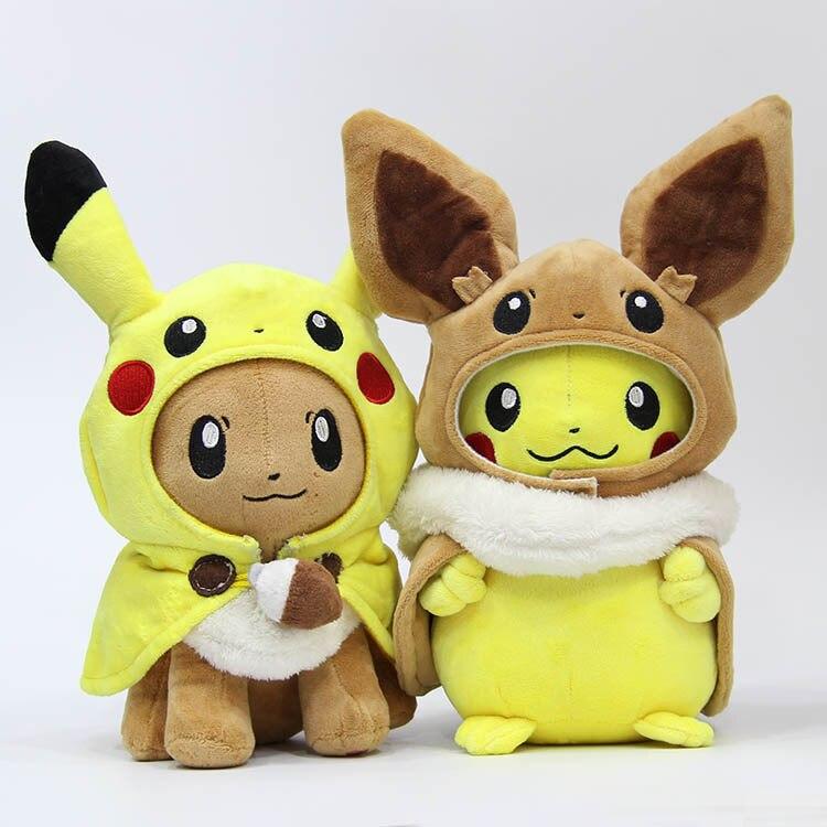28cm Pocket Animals Pikachu Cosplay Eevee Gengar Plush Stuffed Dolls Eevee With Cloak Cos Pikachu Toy Kids Gift SA1884