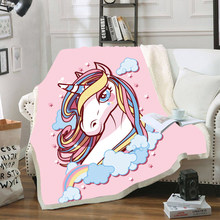 Unicorn Horse Print Velvet Plush Throw Blankets for Kid Adults Sherpa Fleece Black Blanket for Beds Sofa Thin Quilt Home Decor(China)