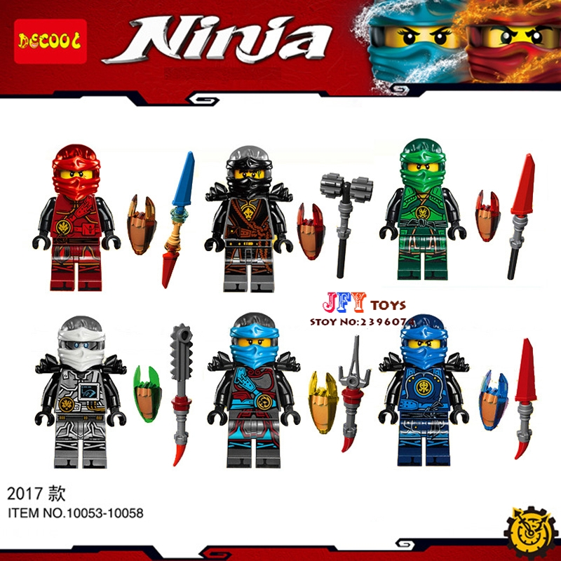 2017 DECOOL Ninja Weapon Kai Cole Jay Zane Lloyd Nya building blocks lepin model bricks Baby toys for children juguetes 2017 new single ninja movie nadakhan dogshank kai jay cole zane nya lloyd building brick toys x0112 x0118