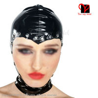 Black Sexy Latex Hoods Open Faced Zipper Hooded Fetish Bondage Gummi Headgear Half Rubber Masks Plus